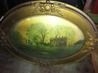 Antique Vtg Wooden frame convex glass oval Farm Scene Picture1800s primitive