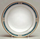SET OF 6 GORHAM REGALIA COURT TEAL RIMMED SOUP BOWLS NEW 24K GOLD SALAD DESSERT