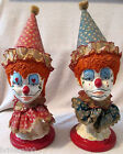 Folk Art Soft Paste Clowns Girl Boy handpainted hand dressed circa 1900