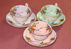 FOLEY TEA CUP AND SAUCER - SET OF THREE - FLORAL PATTERNS NUMBERED PLATES