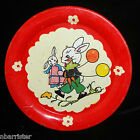 BUNNY BIRTHDAY Tin Litho Childs Toy Tea Set Plate 1940 Fern Bisel Peat Ohio Art