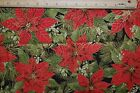 Red Rooster Fabric Woodland Christmas Red Poinsettia with Gold Metallic