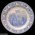 Blue CAT FIDDLE COW MOON Transferware Nursery Rhymes Childs Plate c1888 England