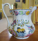 Superb Antique Ironstone Polychrome Pitcher Ashworth Brothers Flying Bird B9461