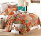 EXOTIC MOROCCAN QUEEN QUILT & SHAMS SET ORANGE AQUA TEAL BLUE YELLOW FUCHSIA NIP