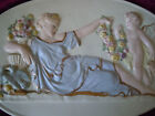 ANTIQUE PORCELAIN WALL OVAL PLAQUE TILE CHERUB ANGEL FLOWERS MYTHOLOGY VINTAGE