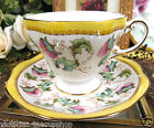 STUNNING FOLEY TEA CUP AND SAUCER YELLOW & FLORAL PATTERN TEACUP