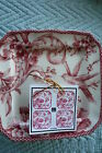 New 222 FIFTH Set 4 Appetizer Plates TOILE  ADELAIDE RED  & White Birds Flowers