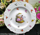 MEISSEN CROSS SWORDS PLATE COURTING COUPLE PLATE DRESDEN FLOWERS PAINTED