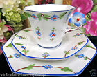 MELBA TEA CUP AND SAUCER TRIO FLOWER HANDLE PAINTED BLOSSOMS TEACUP