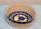 Hand Made & Painted Ceramic Signed Fruit Salad Serving Bowl Dish Blue off White