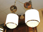 Pair of Art Deco Chandeliers small hanging Lighting fixtures white/clear Glass