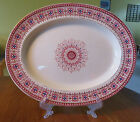 Lovely Antique Oval Red Transferware Platter W.T. Copeland England c1867 13