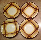 Lot Vintage Metlox Vernonware brown + yellow plaid Organdie Soup Pasta Bowls
