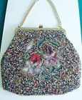 Vintage Needlepoint Beaded SOURE 1940s Handbag Purse Bag