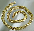 Cool Men Gold Tone 8mm Rolo Link Chain Necklace 316L Stainless Steel 55cm 21.75