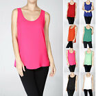 Basic Tank Top Chiffon Blouse Sleeveless Scoop Neck Swing Woven Cami Vest Shirt