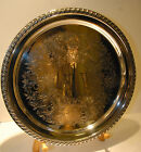 VINTAGE SHERIDAN SILVER PLATED ROUND LION MARK SCROLL MEDALLION  ROPE EDGE NICE