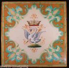 RARE ANTIQUE ULYSSE BLOIS BALON FRENCH SWAN FAIENCE TILE~19TH CENTURY FRANCE