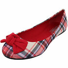 New womens ballet flat ballerina fabric red bow checkers and Plaid casual work