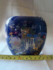 Japanese SM Ceramic Vase Cobalt Blue Cloisonne Flowers & Cart Gold Trim 11514