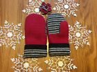 Handmade Recycled Wool Women's Mittens -Red With Gray/Black Stripe
