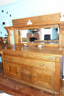 Antique 1800's Quarter Sawn Oak Dining Buffet and Serving Table Set Hand Carved