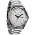 New Nixon Sentry SS Silver Dial Stainless Steel Quartz Men's Watch A356130