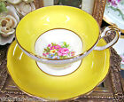 FOLEY TEA CUP AND SAUCER YELLOW & FLORAL TEACUP & SAUCER PATTERN