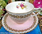 FOLEY TEA CUP AND SAUCER PINK & GOLD TRIMS FLORAL PATTERN TEACUP SWIRLS