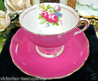 FOLEY TEA CUP AND SAUCER HOT PINK & GOLD GILT FLORAL  PATTERN TEACUP
