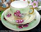 BAVARIA GERMANY  HAND PAINTED ROSES TEA CUP AND SAUCER  TRIO