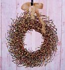 Spring Summer Wreath Primitive Country RUSTIC PASTEL BERRY DOOR WREATH DECOR