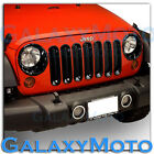 Gloss Black Front Mesh Grille+Headlight Trim Cover for 07 17 Jeep Wrangler JK