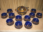 Ornate Blue Gold Soup Tureen Set 12 Bowls Saucers Chinese Soup Spoons Ladle
