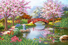 Japanese garden beadpoint DIY kit Seed Beads, Needlepoint on Tapestry, Wall Art