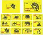 Full set of 14 Authentic Soviet Latvia USSR Matchbox labels - WILDLIFE SERIES