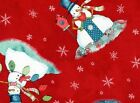 Quilt Fabric BTHY # 9149 Red Rooster Warm Wishes Snowman on Red HALF-YARD