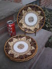 3 ROYAL DOULTON PLATES ANTIQUE THICK GOLD ENCRUSTED DESIGN & BEADED NEW YORK FS