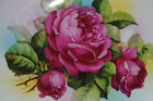 VINTAGE ART DECO GERMANY DOUBLE HANDLED CAKE PLATE HAND PAINTED ROSES