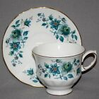 Vintage QUEEN ANNE Blue Roses TEA CUP & SAUCER SET Teacup Bone China Ridgway
