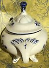 PEREIRAS, PORTUGAL, Porcelain Sugar Dish Antique, Blue And White, Legs, Numbered
