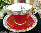 ROYAL STAFFORD TEA CUP AND SAUCER RED FLORAL GOLD GILT TEACUP
