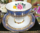 ROYAL STANDARD TEA CUP AND SAUCER BLUE & GOLD & ROSES PATTERN TEACUP