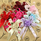 5 15 50pcs Big Satin Ribbon Flower Bows with Bead wedding Decoration Craft A0100