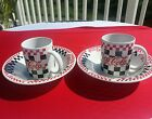 2 COCA  COLA  DINER BLACK & WHITE CHECKS DINNERWARE CEREAL BOWLS & CUPS Gibson
