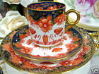 ANTIQUE  TEA CUP AND SAUCER TRIO COBALT IMARI GOLD GILT SHELLEY ? PATTERN TEACUP