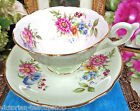 FOLEY  TEA CUP AND SAUCER PASTEL GREEN FLORAL PATTERN TEACUP MORNING GLORY