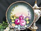 GERMAN AUSTRIA HANDPAINTED ARTIST SIGNED PLATE CHARGER ROSES HUGE PLATTER