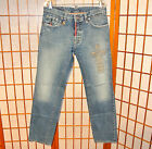 DSQUARED2 CROSS TOTEM STITCH FADED LEATHER PATCH VINTAGE JEANS PANTS 32 34 46 48